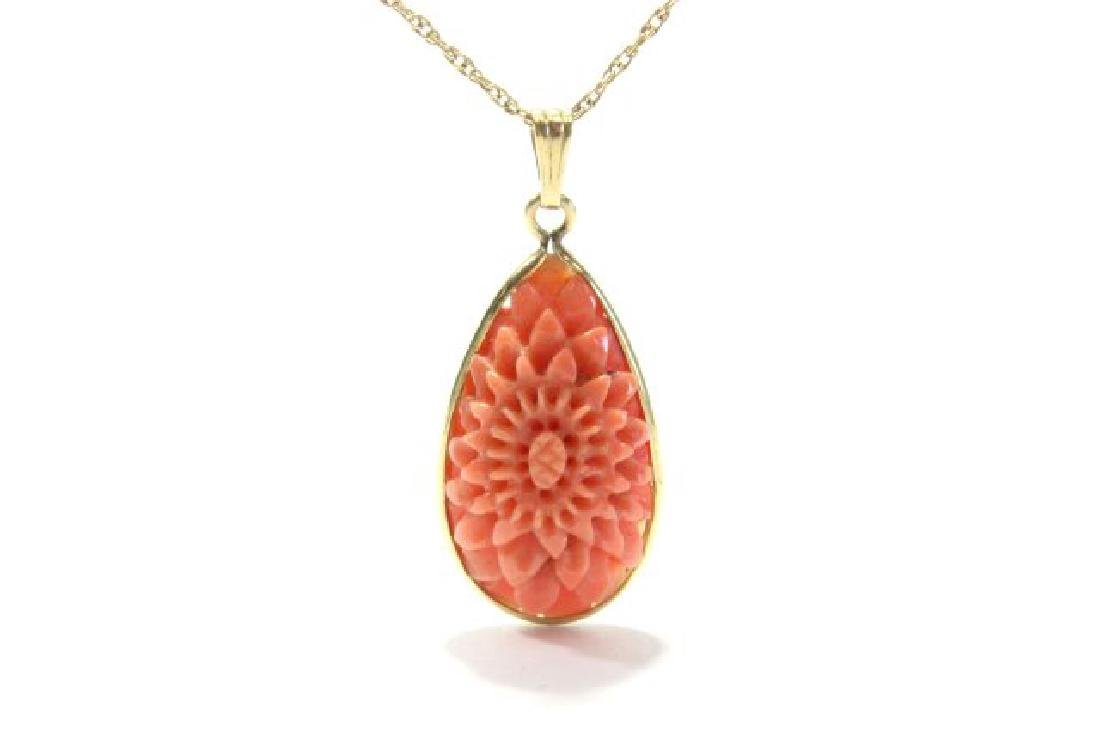 Carved Coral Bracelet & Pendant on Gold Chain - 2