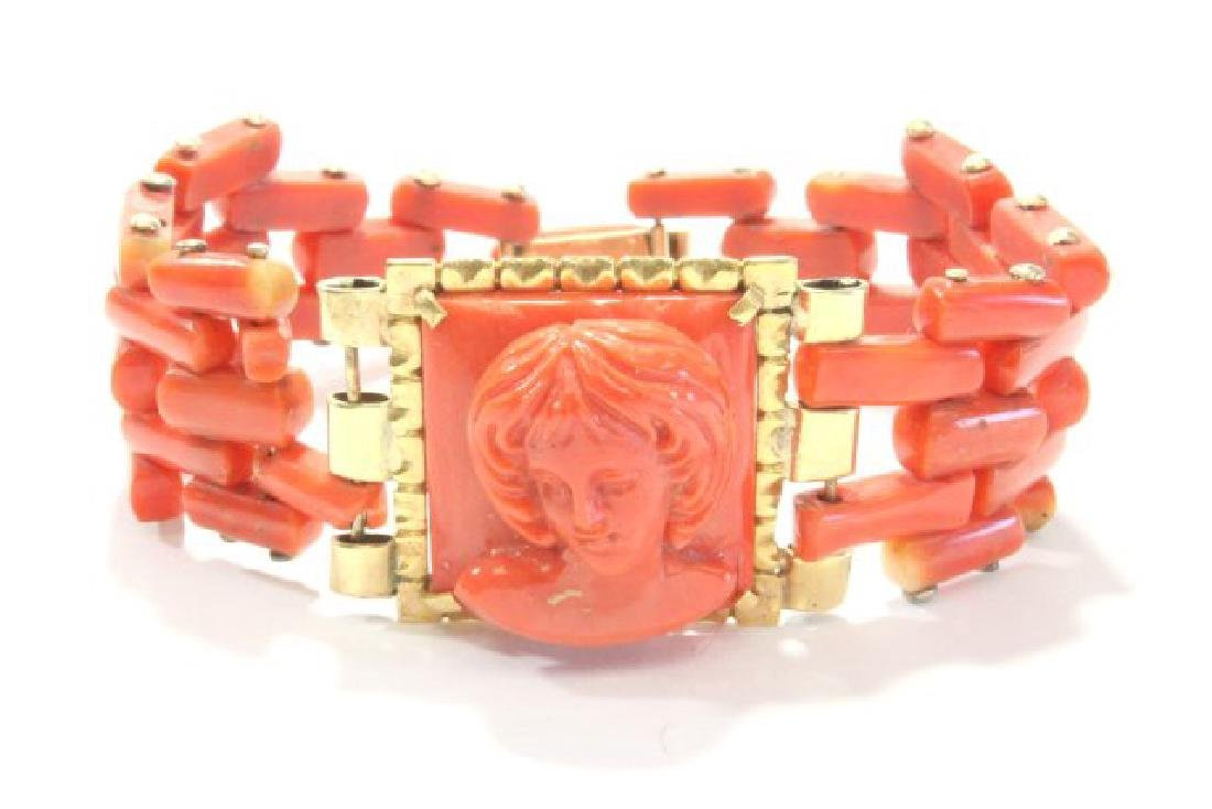 Carved Coral Bracelet & Pendant on Gold Chain - 3