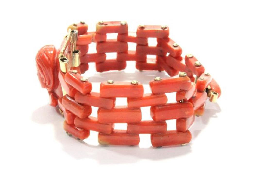 Carved Coral Bracelet & Pendant on Gold Chain - 4