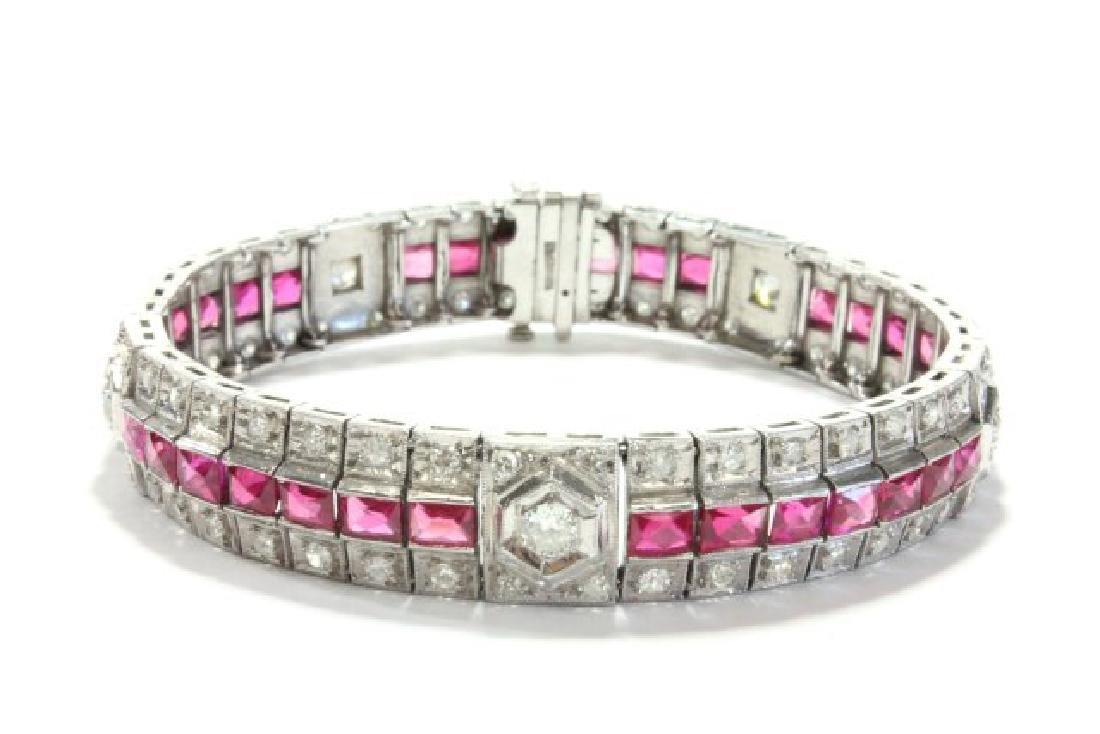 Period Art Deco Platinum, Diamond, & Ruby Bracelet