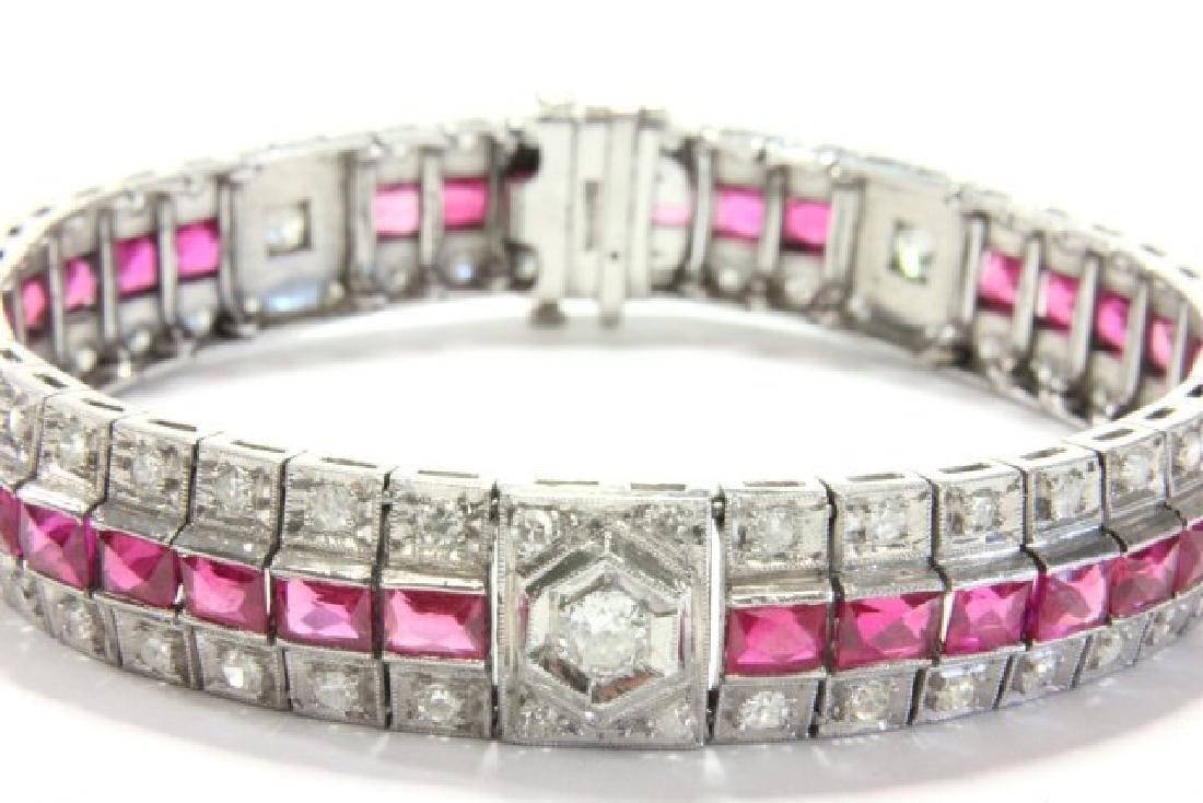 Period Art Deco Platinum, Diamond, & Ruby Bracelet - 2