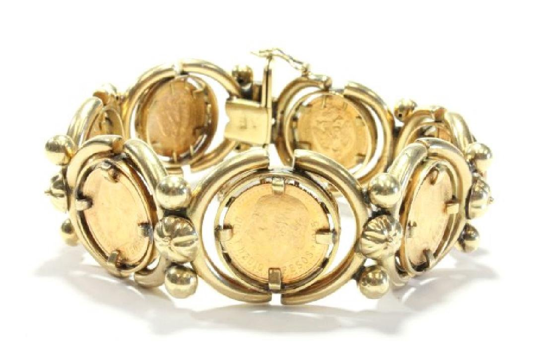 18K Yellow Gold Bracelet with 7 Mexican Peso Coins