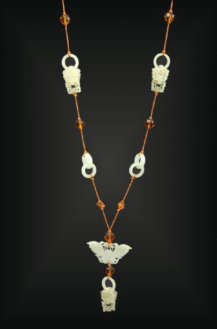 Chinese Carved Jade Necklace