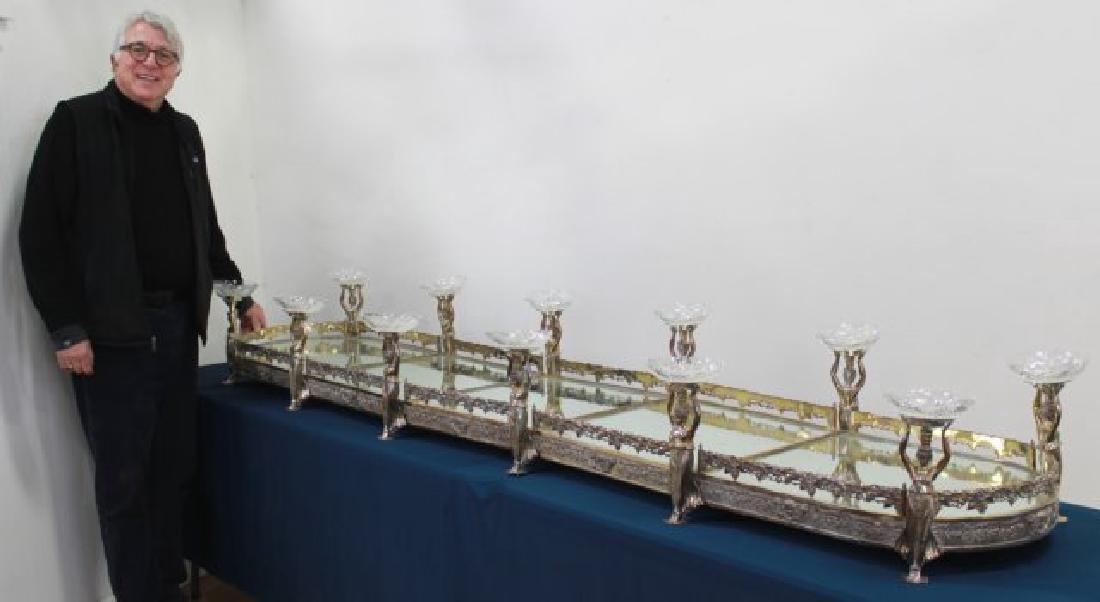 Silvered Bronze Mirrored Top Surtout de Table