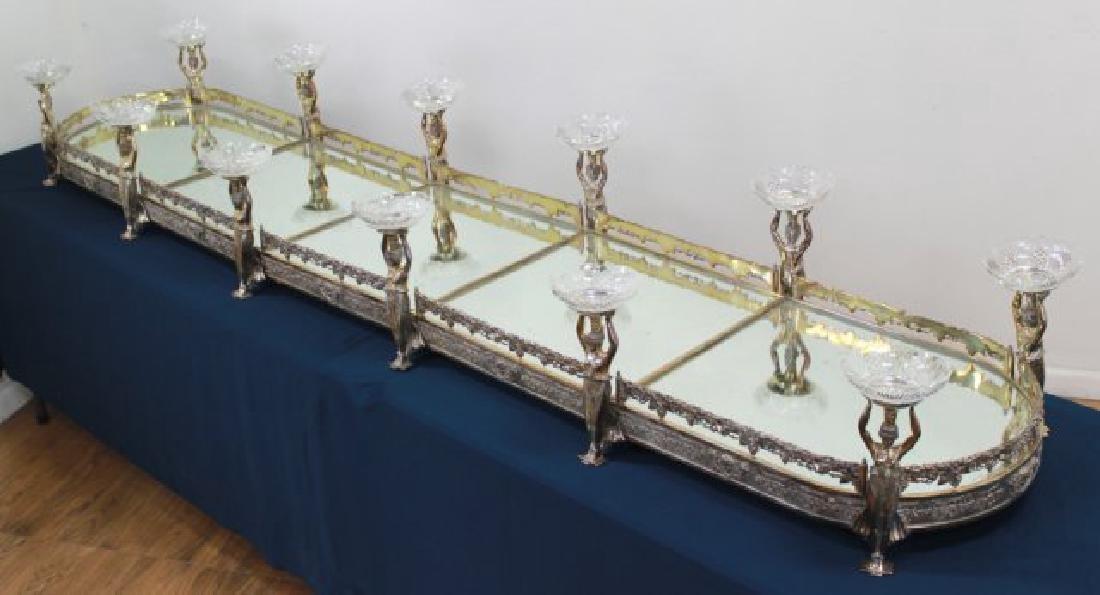 Silvered Bronze Mirrored Top Surtout de Table - 2