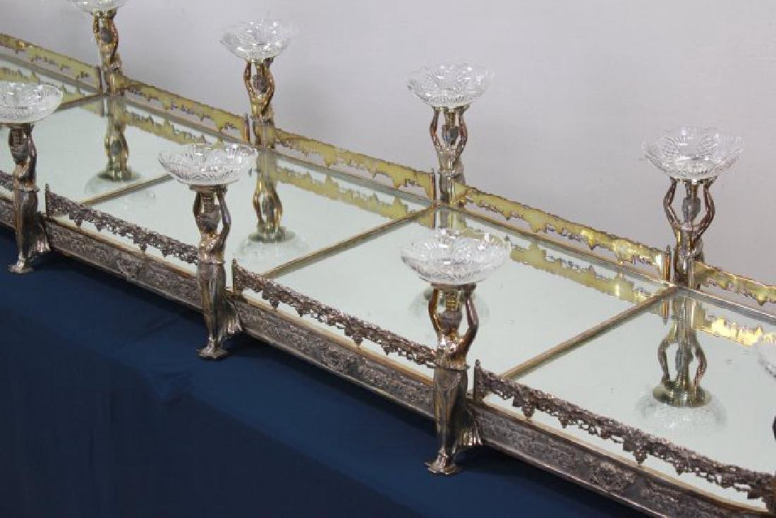 Silvered Bronze Mirrored Top Surtout de Table - 3