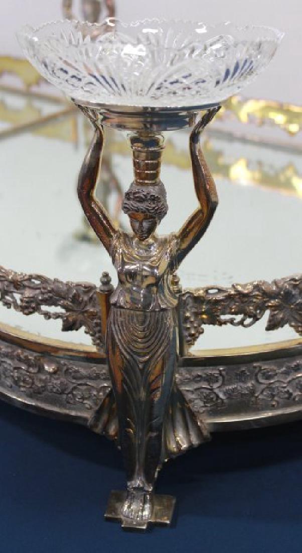 Silvered Bronze Mirrored Top Surtout de Table - 4
