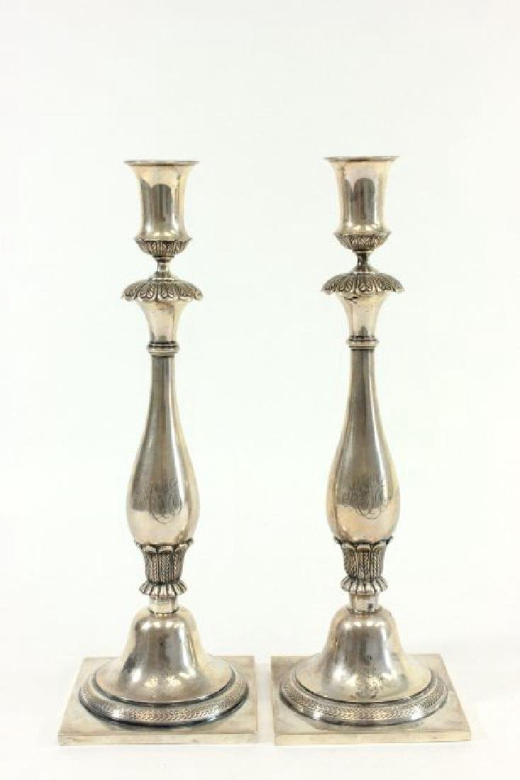 Pair 800 Silver Candlesticks