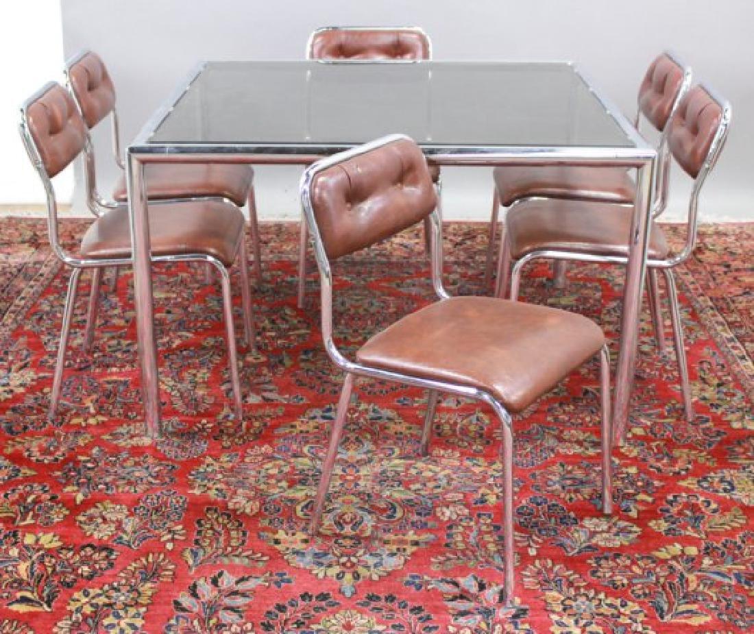 Mid-Century Modern Glass & Chrome Table - 2