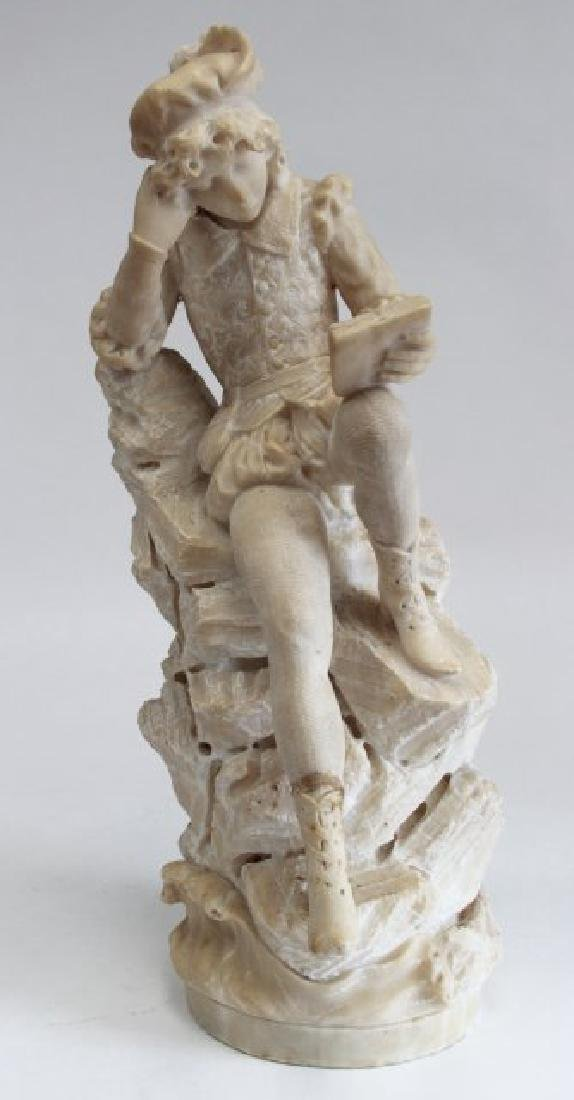 Alabaster Figure of Seated Man with Book