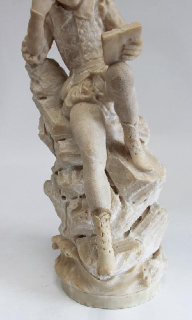Alabaster Figure of Seated Man with Book - 3