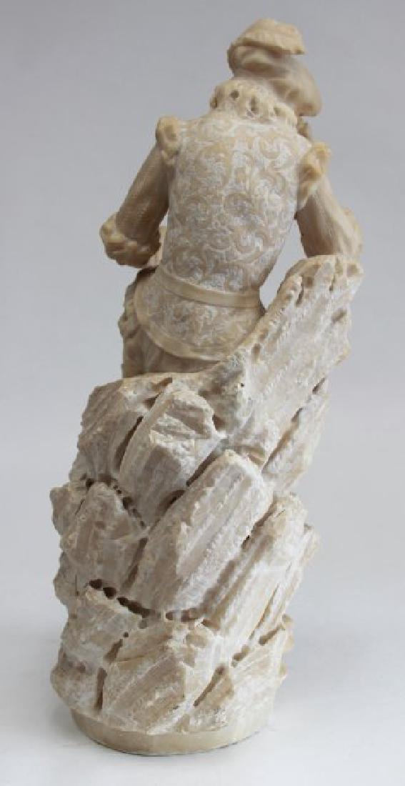 Alabaster Figure of Seated Man with Book - 4
