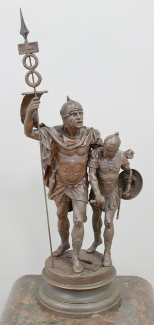 Spelter Statue of 2 Soldiers with Flag