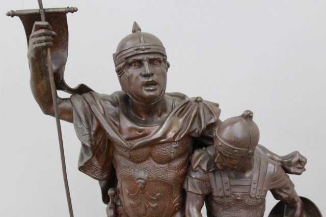 Spelter Statue of 2 Soldiers with Flag - 2