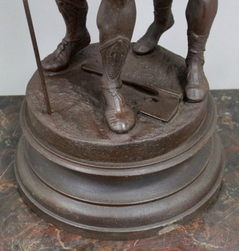 Spelter Statue of 2 Soldiers with Flag - 4