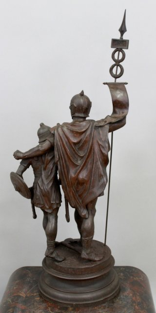 Spelter Statue of 2 Soldiers with Flag - 7