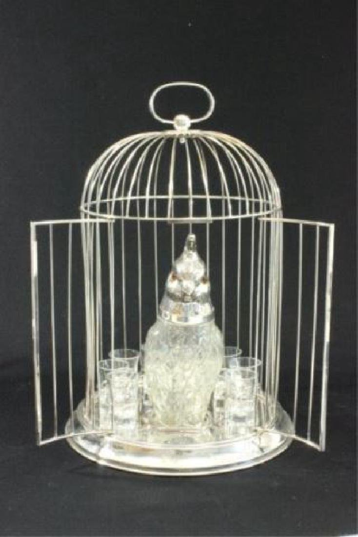 :Silverplated Birdcage Decanter Set - 2