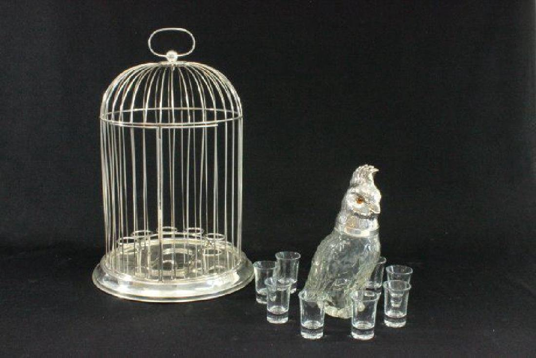 :Silverplated Birdcage Decanter Set - 3