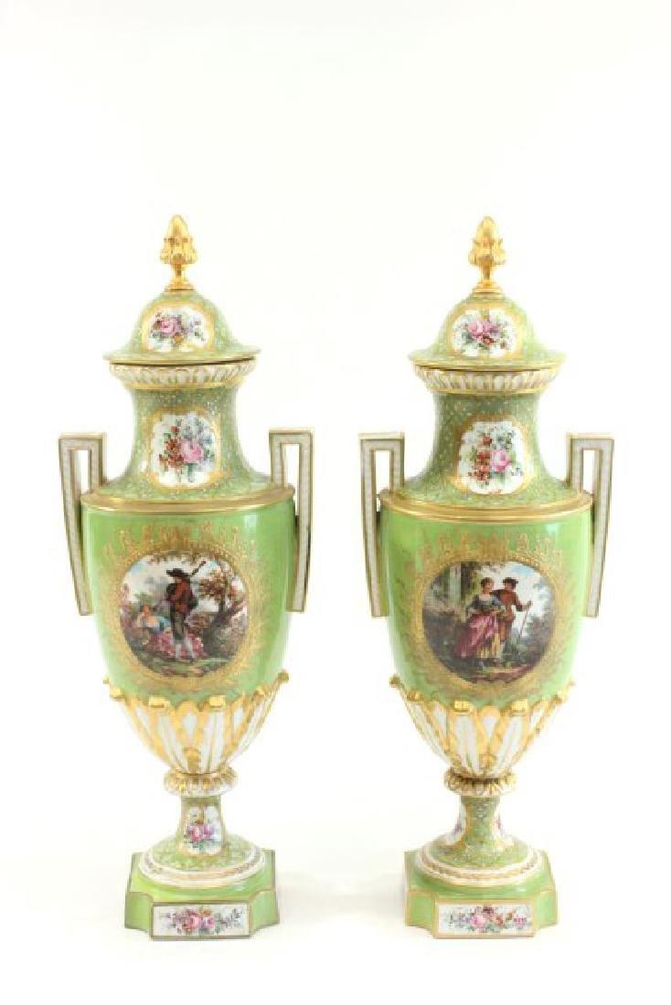 Pair Handpainted Porcelain Continental Vases