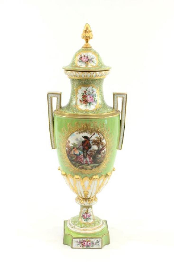 Pair Handpainted Porcelain Continental Vases - 2