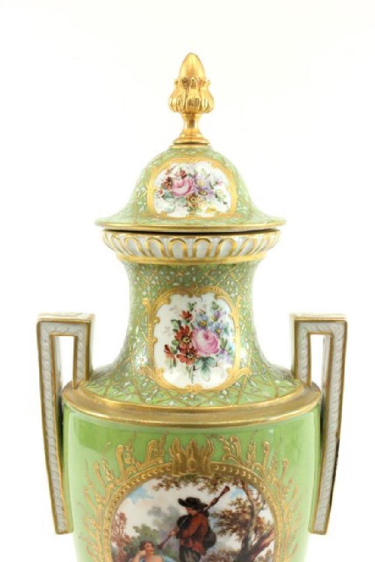 Pair Handpainted Porcelain Continental Vases - 3