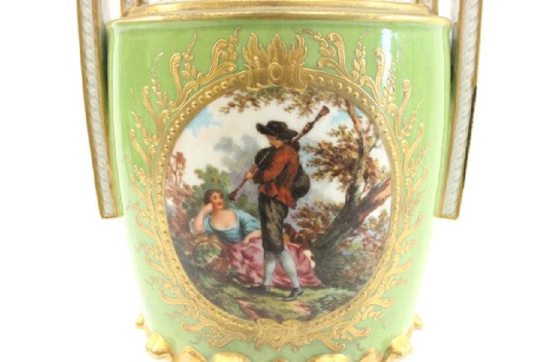 Pair Handpainted Porcelain Continental Vases - 4