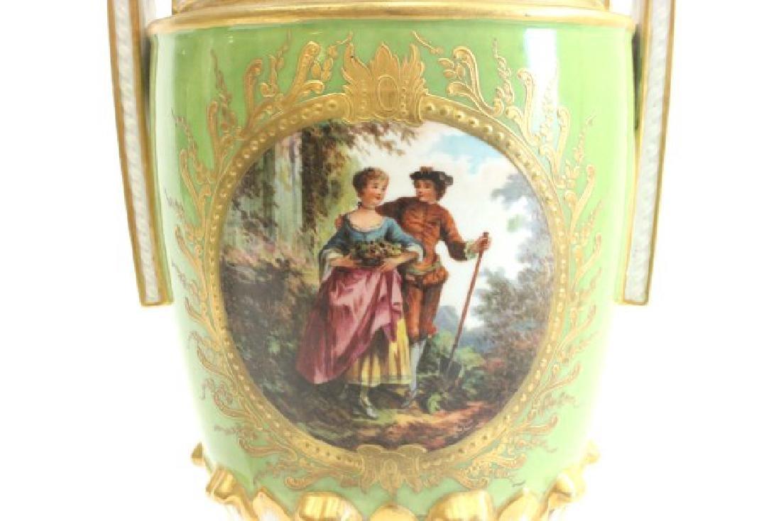 Pair Handpainted Porcelain Continental Vases - 5