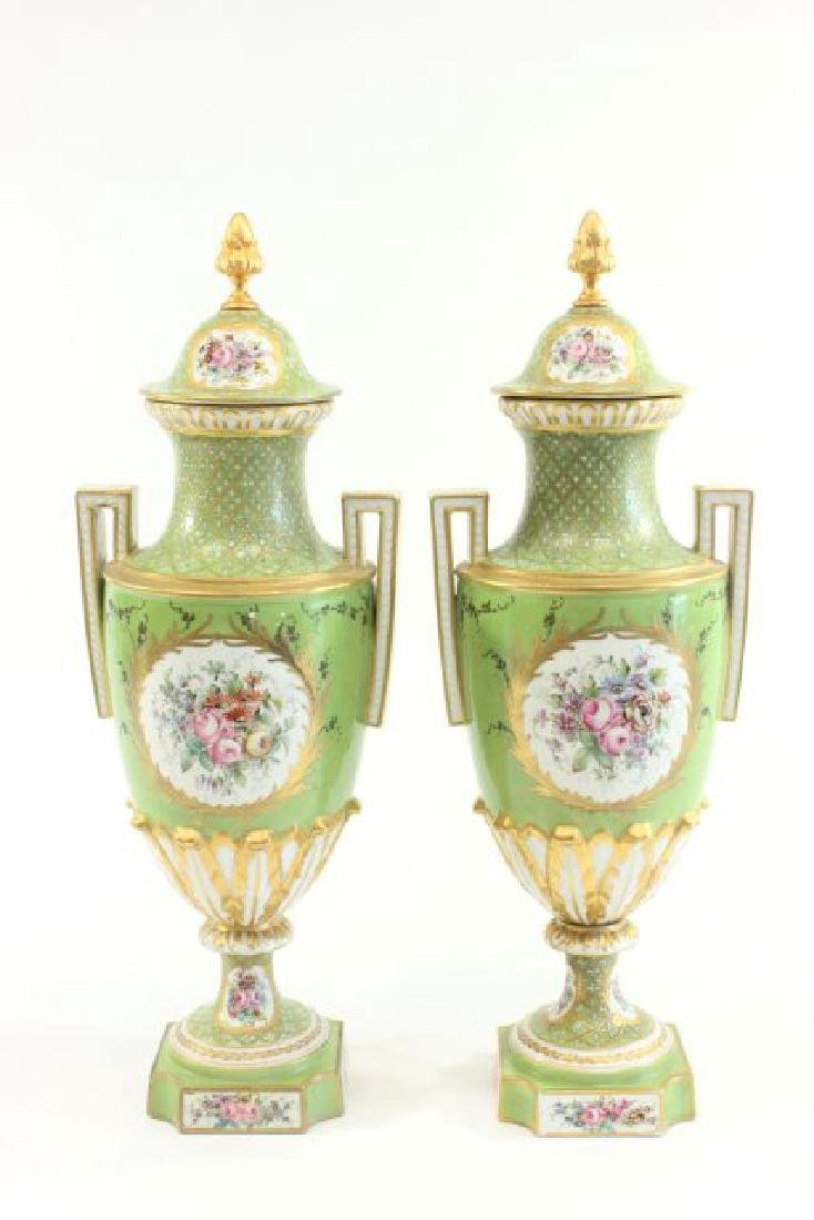 Pair Handpainted Porcelain Continental Vases - 7