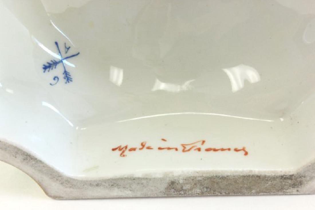Pair Handpainted Porcelain Continental Vases - 8