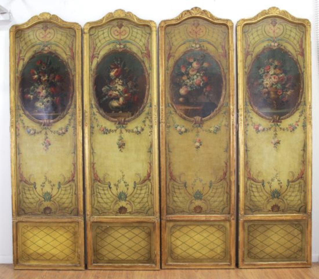 Louis XVI Style Gilt & Painted 4-Panel Screen