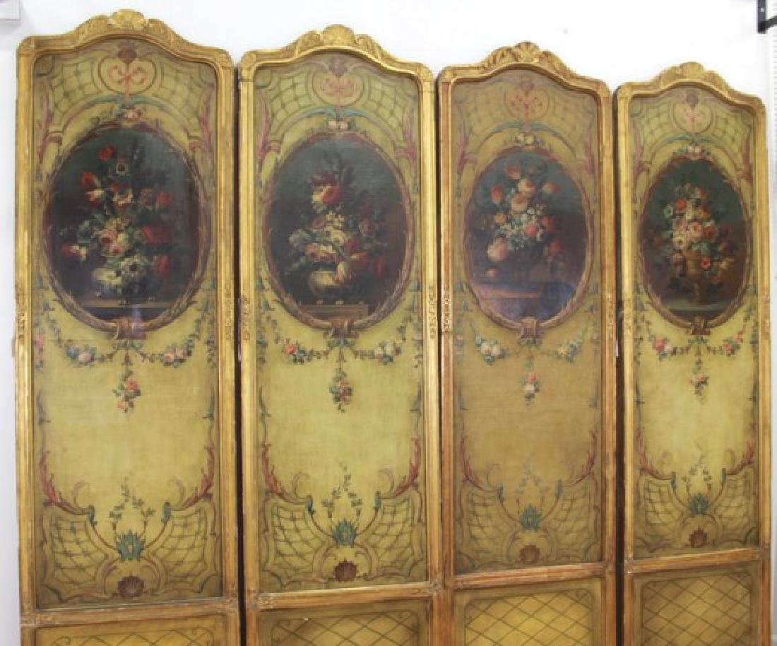 Louis XVI Style Gilt & Painted 4-Panel Screen - 2