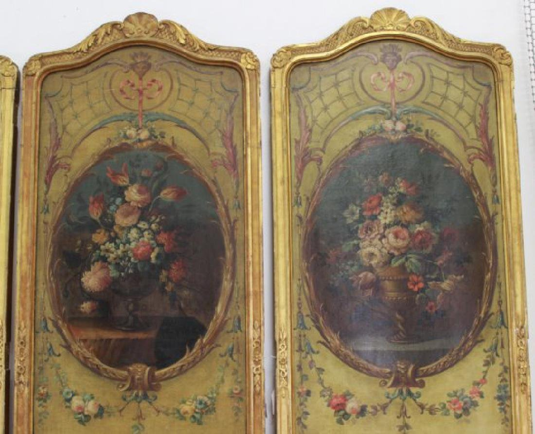 Louis XVI Style Gilt & Painted 4-Panel Screen - 3