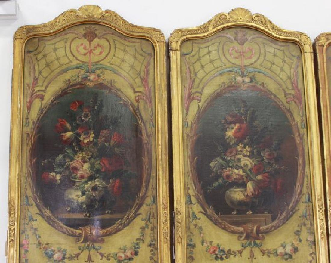 Louis XVI Style Gilt & Painted 4-Panel Screen - 4