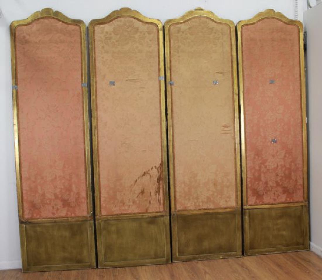 Louis XVI Style Gilt & Painted 4-Panel Screen - 5
