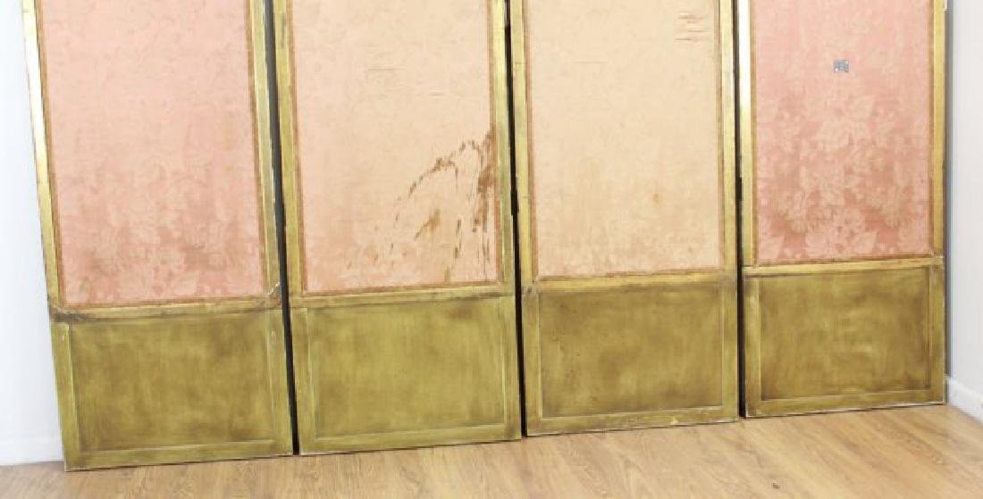 Louis XVI Style Gilt & Painted 4-Panel Screen - 6
