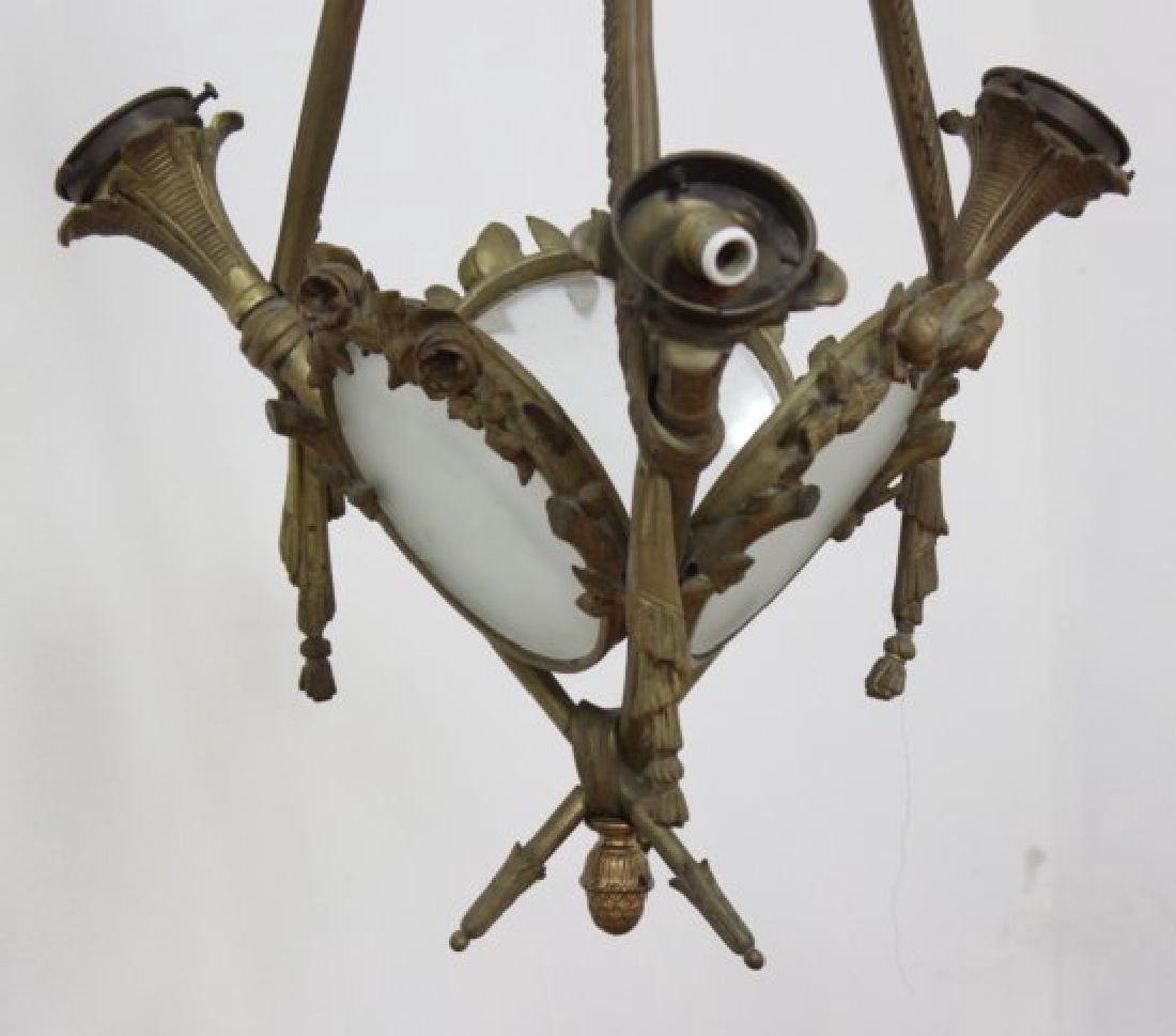 :English Bronze & Glass 3-Light Chandelier - 2