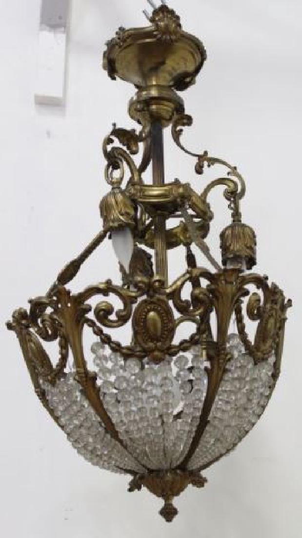 :French Crystal & Bronze 6-Light Basket Chandelier