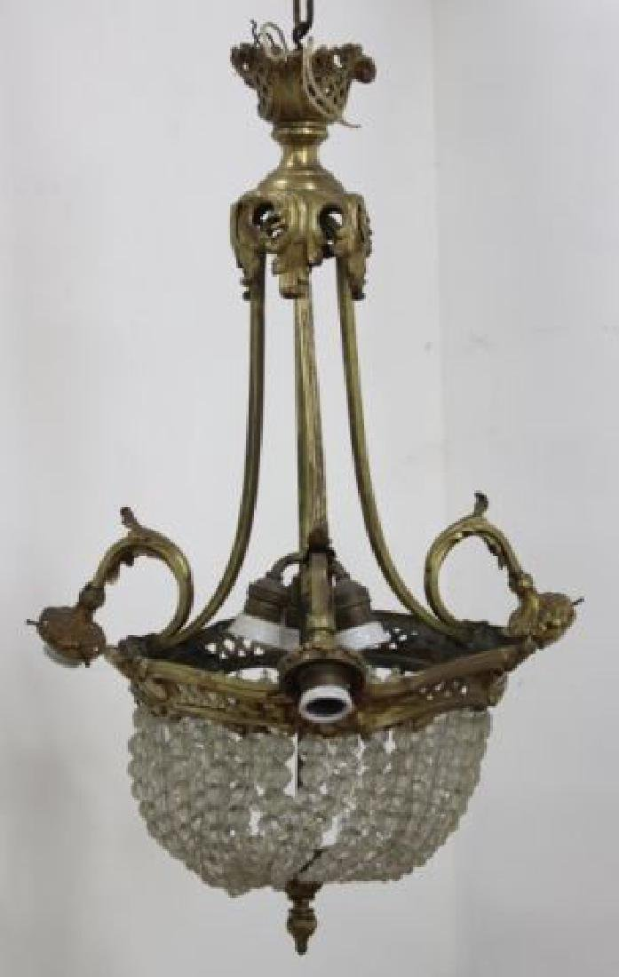 :French Beaded Crystal & Bronze Basket Chandelier