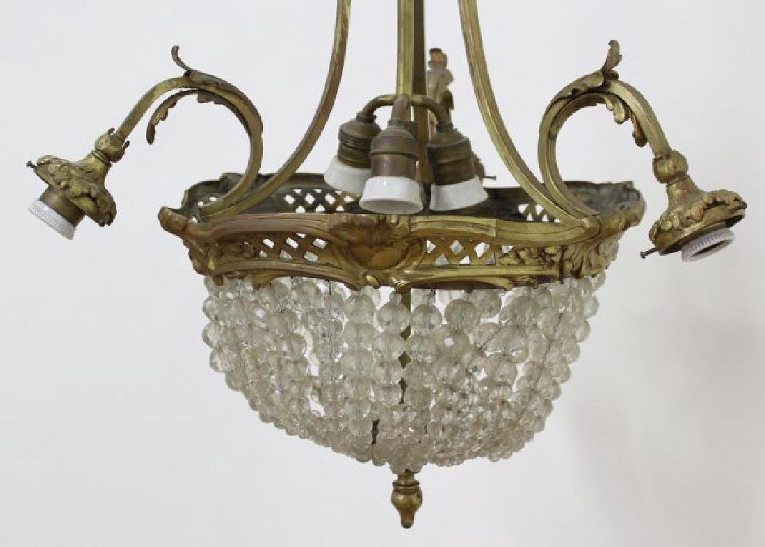 :French Beaded Crystal & Bronze Basket Chandelier - 2