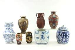 Lot of 8 Asian Porcelain & Pottery Vases & Jars