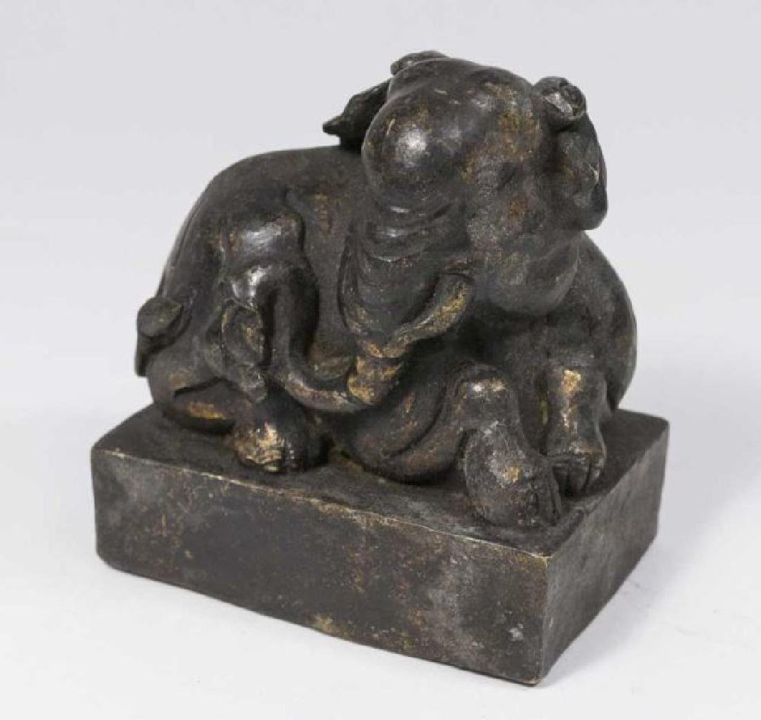 :Chinese Bronze Elephant with Seal