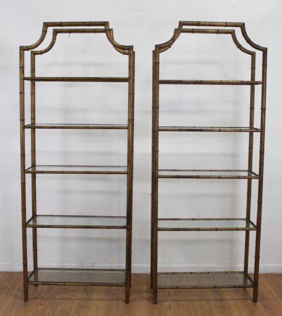 Pair Faux Bamboo Gilt Painted Etageres