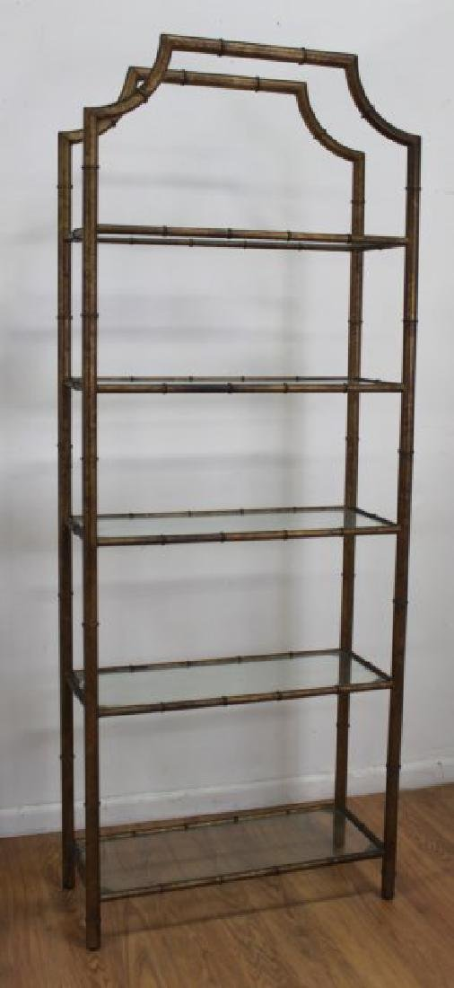 Pair Faux Bamboo Gilt Painted Etageres - 2