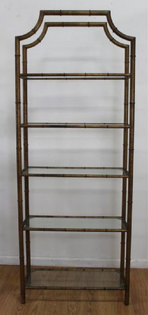 Pair Faux Bamboo Gilt Painted Etageres - 3