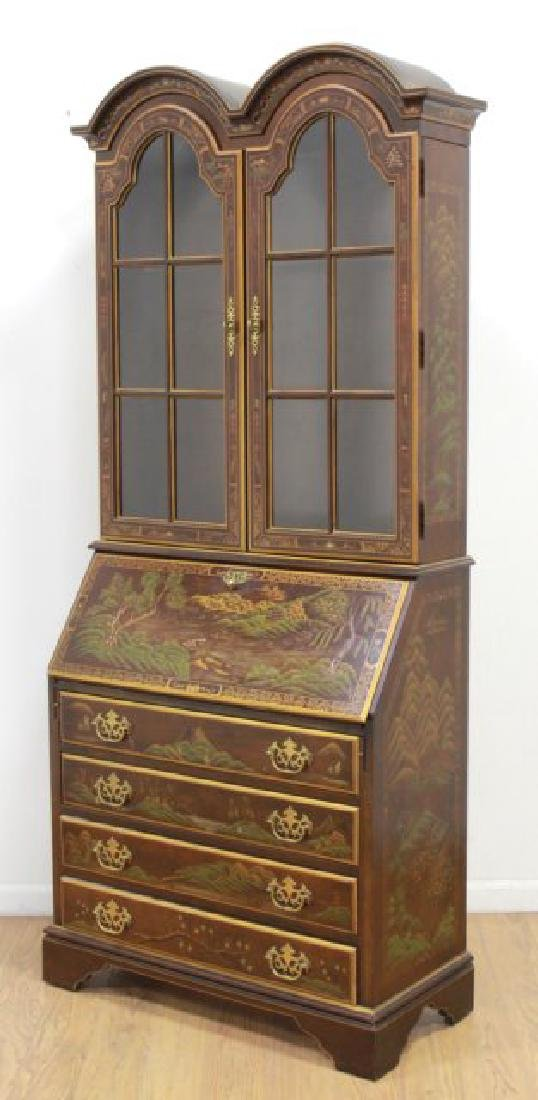 George III Style Chinoiserie Slant Front Bookcase