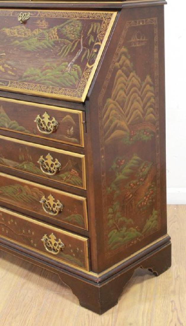 George III Style Chinoiserie Slant Front Bookcase - 7