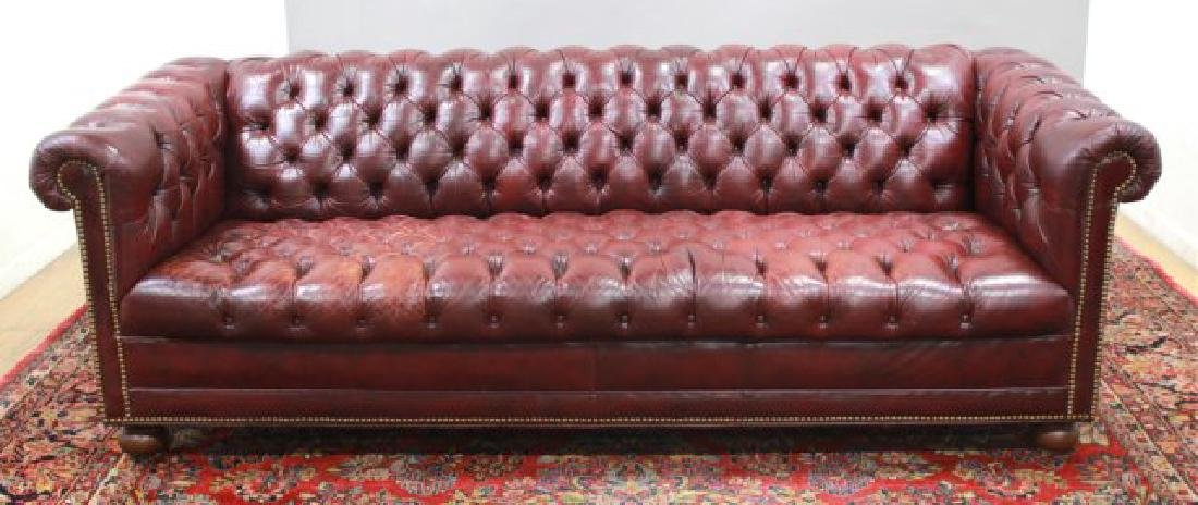 Chesterfield Burgundy Leather Upholstered Couch