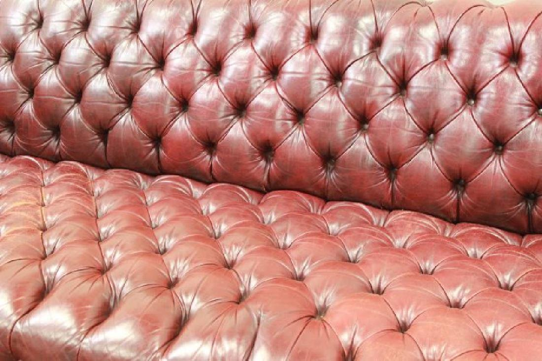 Chesterfield Burgundy Leather Upholstered Couch - 2