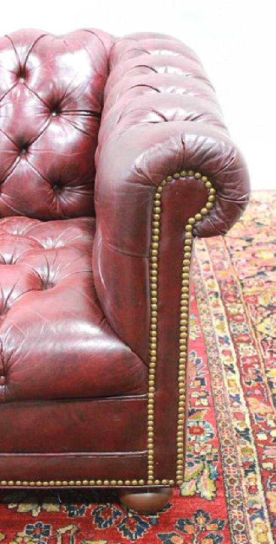 Chesterfield Burgundy Leather Upholstered Couch - 3
