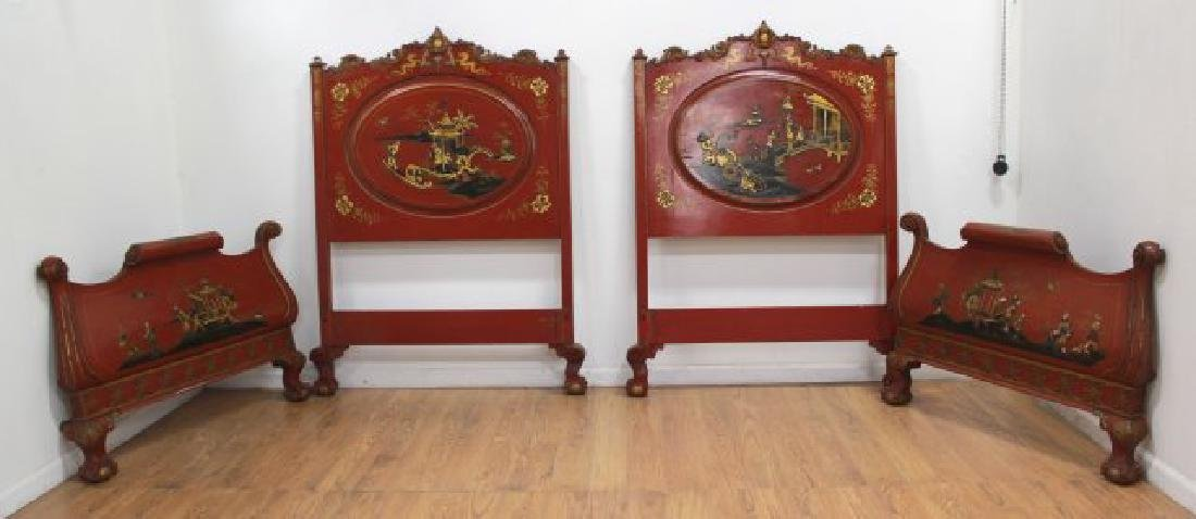 Pair Red Lacquered Carved Chinoiserie Single Beds